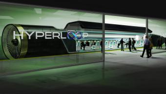 Un rendering di una stazione per Hyperloop